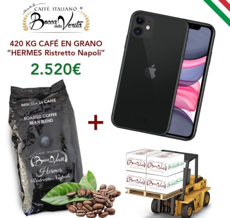 "Mobile Iphone 11 + Pallet 420 kg Coffee beans ""HERMES Ristretto Napoli"""